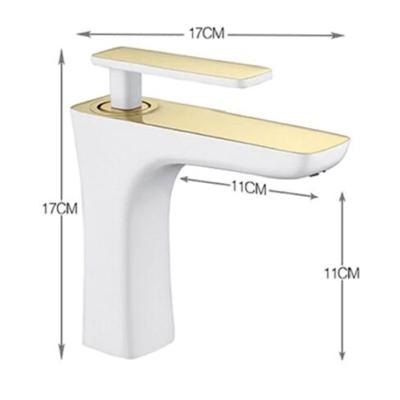 BathSelect Sleek Design White & Gold Combination Short Deck Faucet