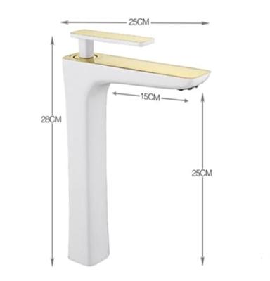 BathSelect Sleek Design White & Gold Combination Long Deck Faucet