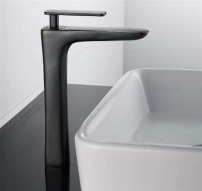 BathSelect Sleek Design Black Long Deck Faucet
