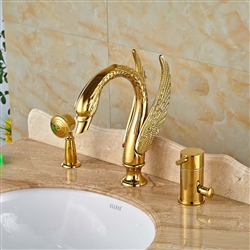 """BathSelect Golden Swan 4"""" Deck Install Bathtub Faucet with Hand Shower"""
