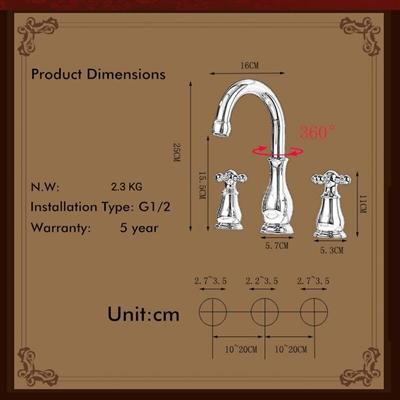 BathSelect Elegant Classic Long Faucet Dual Handle