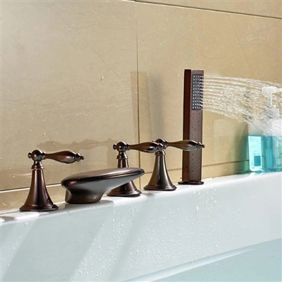 Bathselect Elegant LED Bathtub Faucet Oil-Rubbed Bronze with Hand-Shower