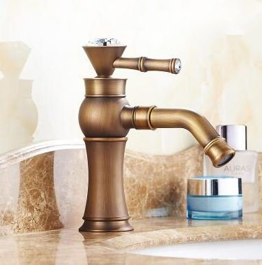 BathSelect Queen Gold Crown Antique Deck Mount Faucet
