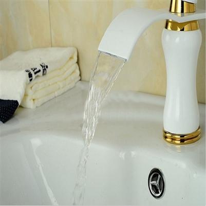 BathSelect Stylish Short Curve White Polished Deck Mount Faucet