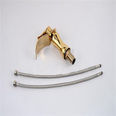 BathSelect Stylish Short Curve Gold Polished Deck Mount Faucet
