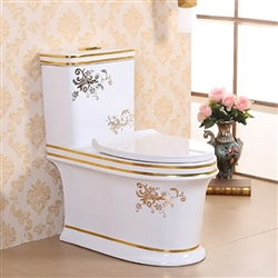 Vermont European Style Floor Mounted Lavatory in Ceramic White and Gold Finish with Floral Design