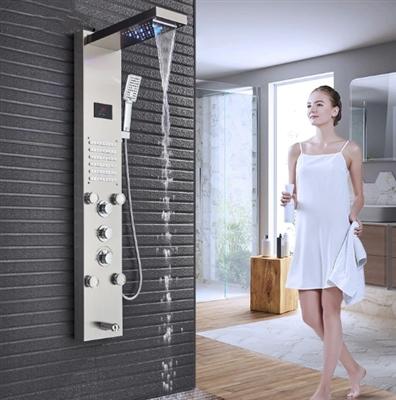 Amazing LED Rain Waterfall Shower Panel with Massage Jet & Shower Head