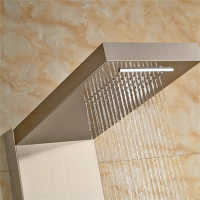 Contemporary Massage Shower Panel with Brushed Nickel Finish