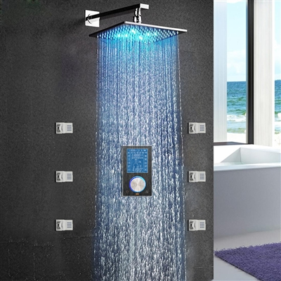 Trialo Solid Brass Color Changing Water Powered Led Shower with Adjustable Body Jets and Digital Mixer