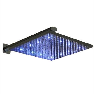 """Fontana 12"""" Oil Rubbed Bronze Square Color Changing LED Rain Shower Head"""