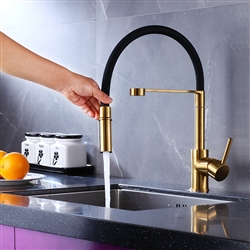 Reno Goose Neck Deck Mount Kitchen Sink Faucet Single Lever In Black And Gold Finish With Pull Out Sprayer