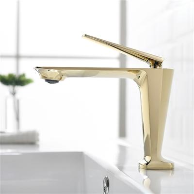 Verona Deck Mount Brushed Gold Finish Single Lever Sink Faucet Mixer