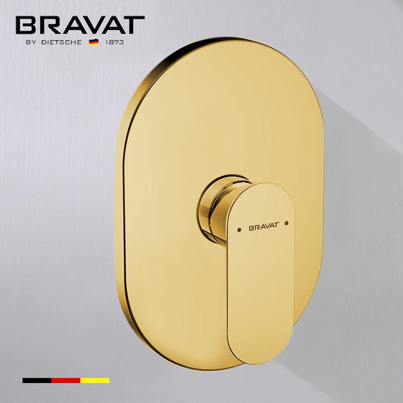 Bravat Wall Mount Shower Valve Mixer In Brushed Gold Finish