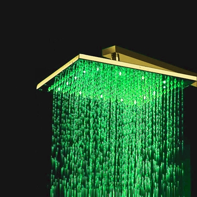 """BathSelect 12"""" Gold Tone Finish Square Color Changing LED Rain Shower Head"""