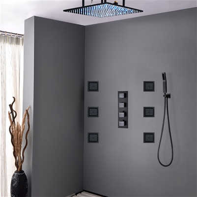 """20"""" Royal Multi Color Water Powered Led Shower with Adjustable Body Jets and Mixer"""