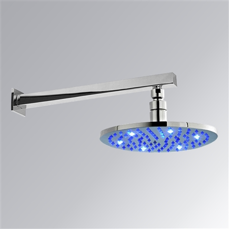 """8"""" Solid Brass Round Color Changing LED Rain Shower Head"""