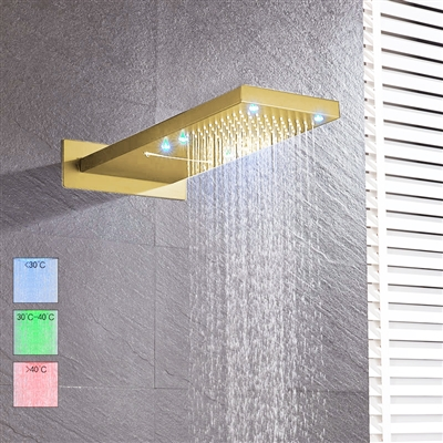 Reno Led Color Changing Gold Plate Two Ways Soild Brass Wall Mount Shower Head