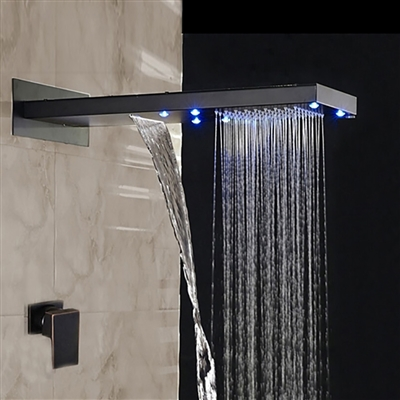 BathSelect Rainfall LED Color Changes Shower Faucet Single Handle Oil Rubbed Bronze Shower