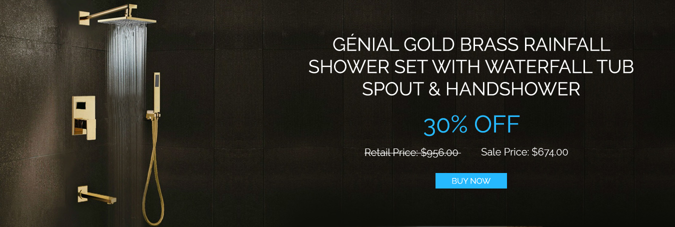 Gnial Gold Brass Rainfall Shower
